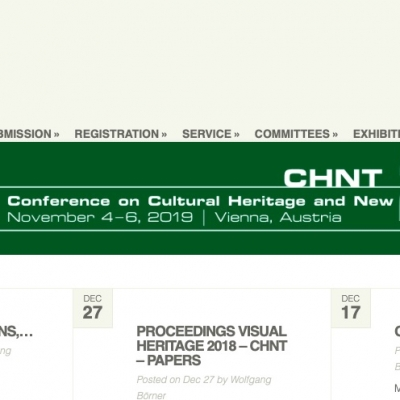 4-6 novembre 2019 Vienna (Austria) - Conference on Cultural Heritage and New Technologies CHNT24
