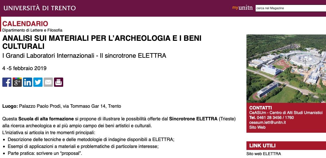 Unitn Calendario Accademico.Corso Su Analisi Sui Materiali Per L Archeologia E I Beni