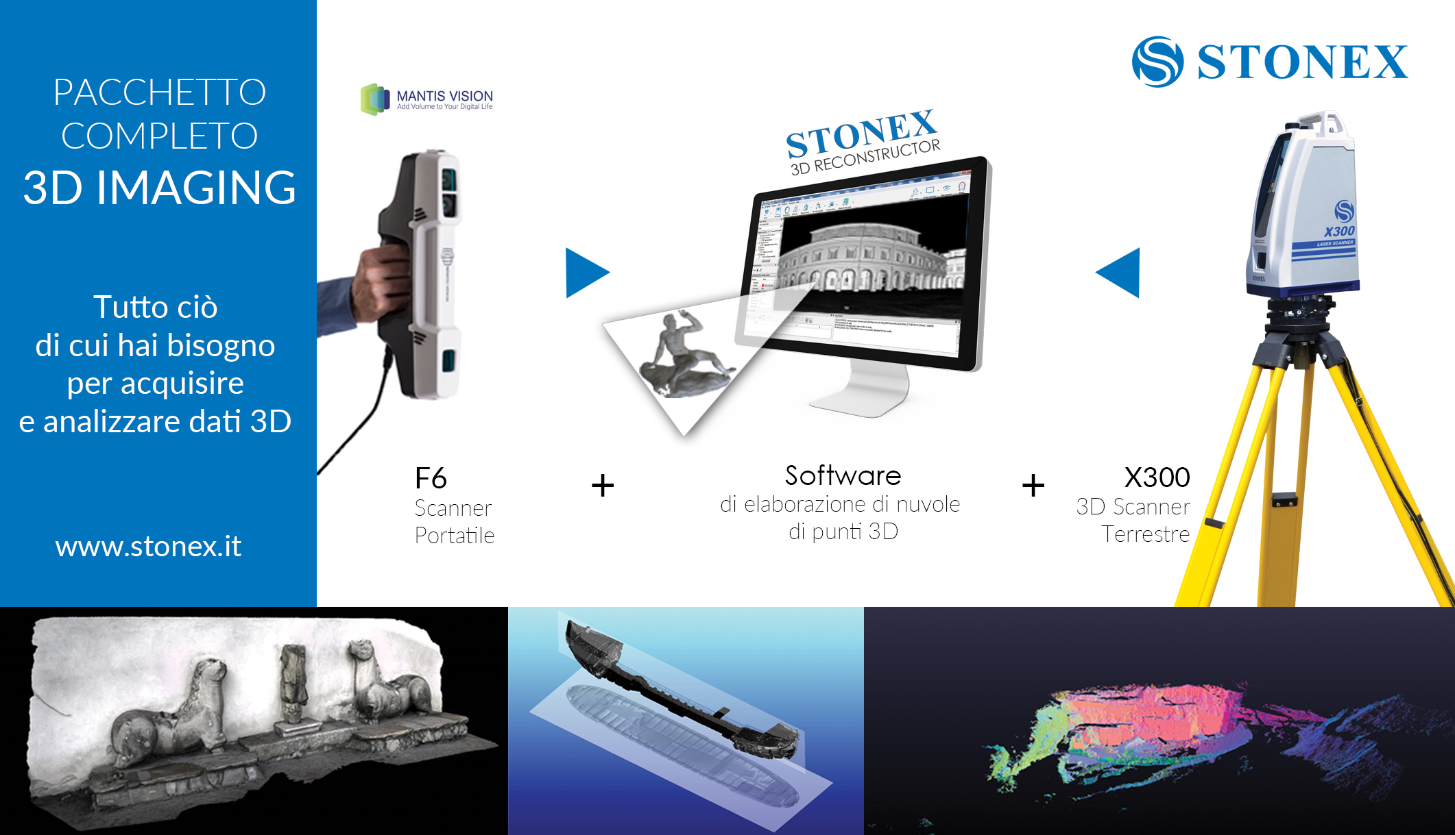 Pacchetto completo 3D Imaging  Scanner 3D X300 + Stonex 3D Reconstructor Software + Scanner portatile F6